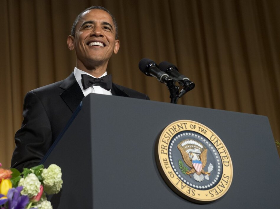 President Obama speaks — and jokes — during the White House Correspondents Association Dinner on Saturday.