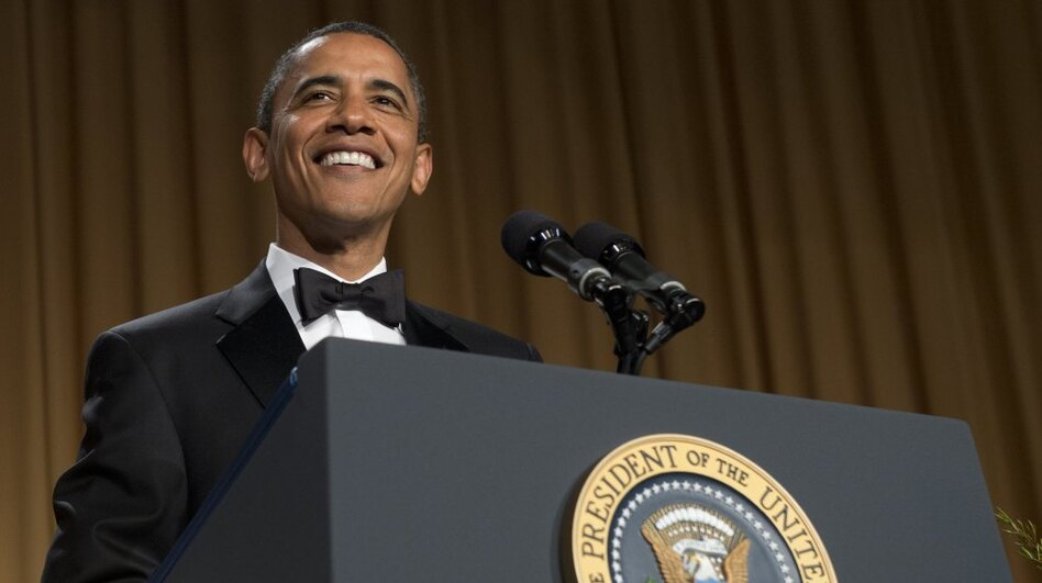 President Obama speaks — and jokes — during the White House Correspondents Association Dinner on Saturday. (AFP/Getty Images)