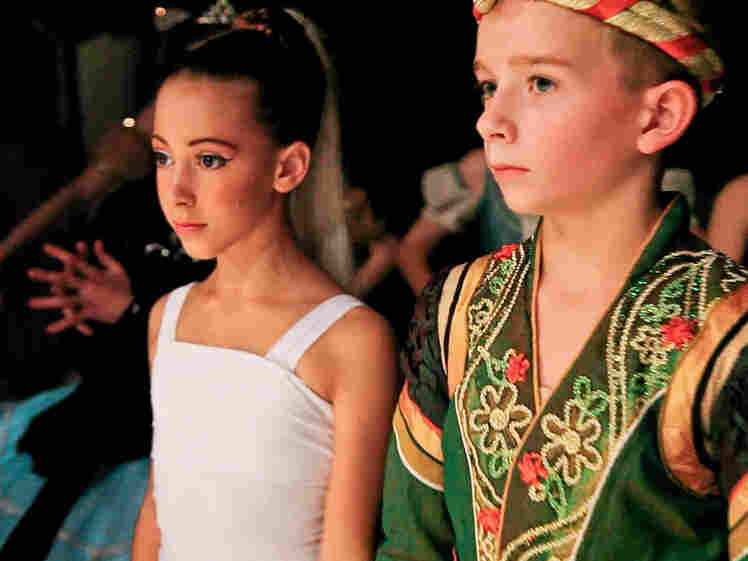 Gaya Bommer and Aran Bell in First Position. Aran, who is 11 in the film, began dance training at age 4.