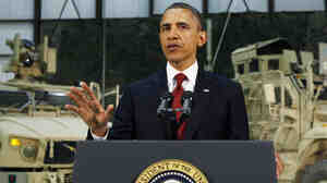 U.S. President Barack Obama delivers an address to the American people on U.S. policy and the war in Afghanistan during his visit to Bagram Air Base on Tuesday.