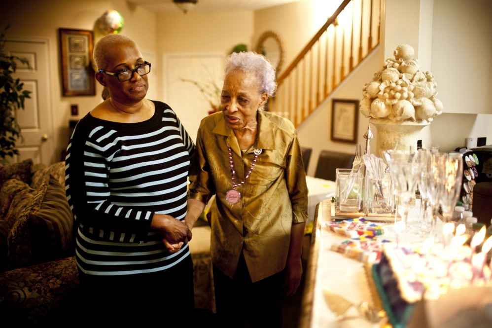 Geneva Hunter (left) and her daughter, Yolanda, decided to take a hands-on approach to Ida's care. Ida lives with Geneva, and Yolanda quit her job to become Ida's daytime caregiver.