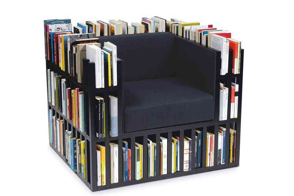 Bibliochaise: The Bibliochaise, designed by Giovanni Gennari and Alisee Matta, contains 16 feet 3 inches of shelf space and comes in white or black with leather cushions.