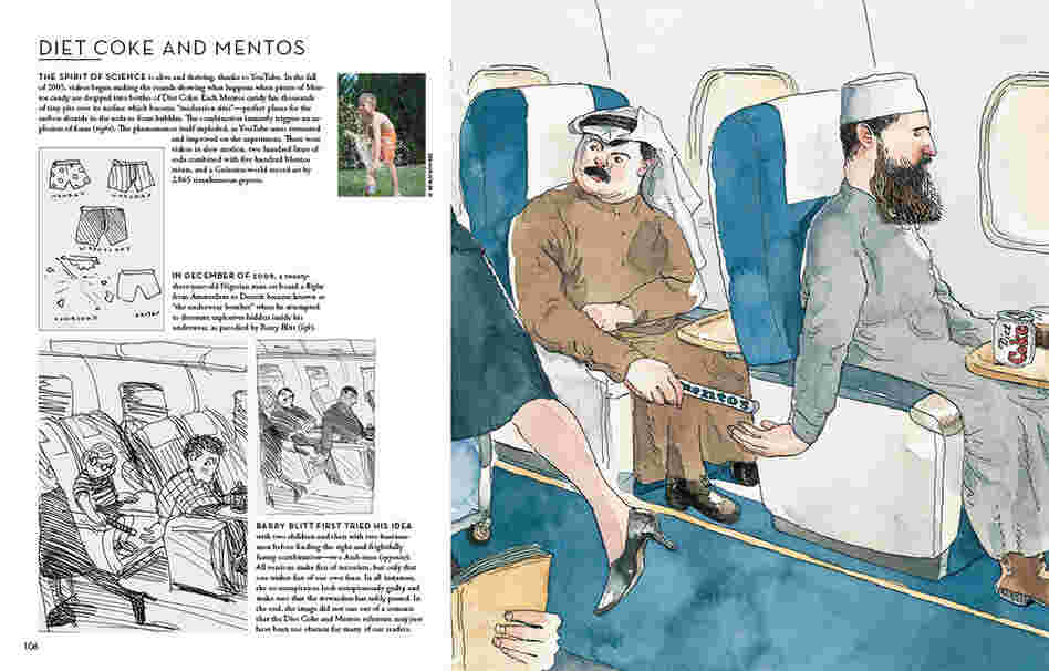 Barry Blitt first tried his idea with two children and then with two businessmen before finding the right combination — two Arab men. All versions of the image make fun of terrorism, but only one makes fun of our own fears. In all instances, the co-conspirators look conspicuosly guilty and make sure that the flight attendant has safely passed. In the end, the images did not run out of a concern...