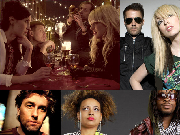 Clockwise from upper left: Tu Fawning, The Ting Tings, The Memorials, Yann Tiersen