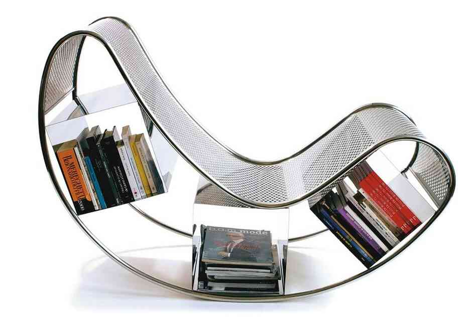 Dondola: A particularly curvy rocking chair designed by Pucci de Rossi features book storage areas under the seat.