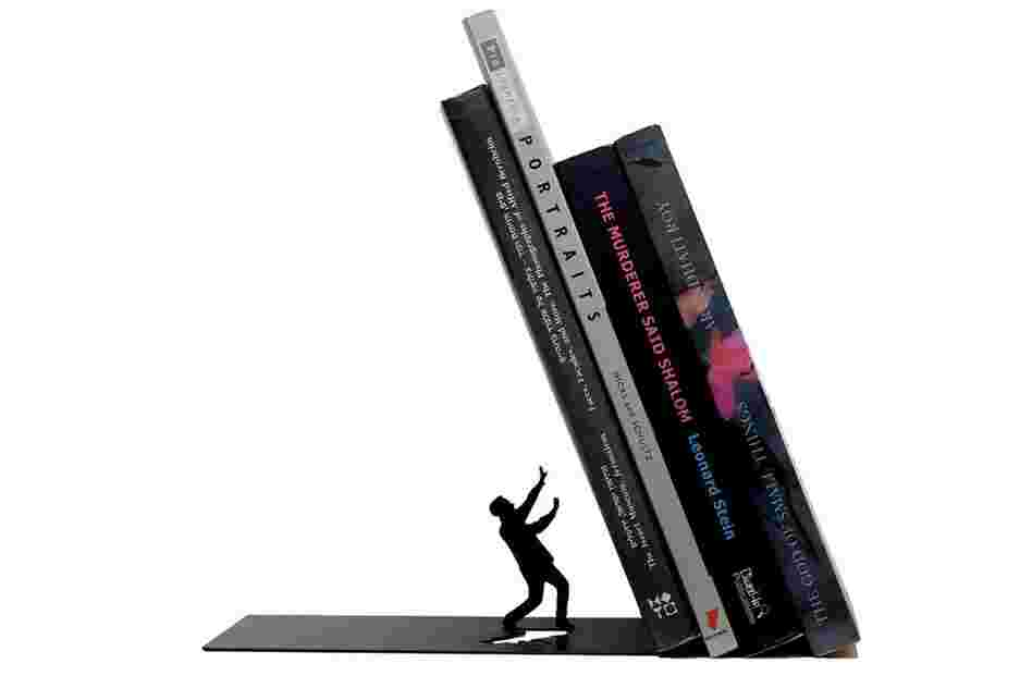 Falling Bookend: The upright of the bookend is hidden inside the first book.