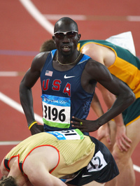 In his first race at the 5000-meter distance, runner Lopez Lomong set a 2012 world record. But the American also ran into some unusual trouble late in the race. This file photo shows Lomong at the 2008 Olympics.