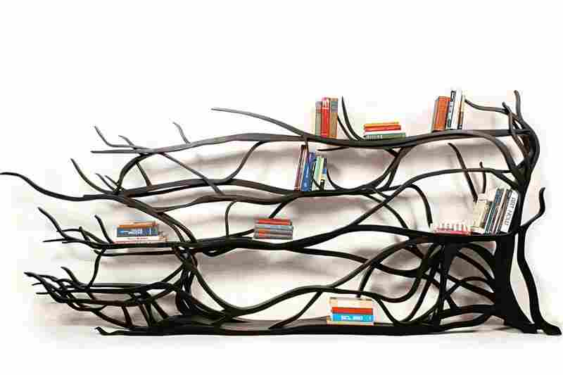 Metamorphosis: The shelves of Sebastian Errazuriz's one-off, hand-carved bookcase were inspired by the branches that grew on his childhood home in Santiago, Chile.