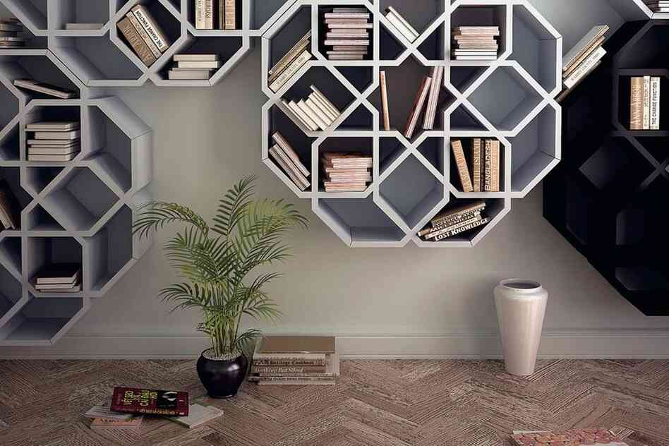 Zelli and MiniZelli: These shelves are inspired by the zellige mosaics that designer Younes Duret remembers seeing on living room walls during his childhood in Morocco.