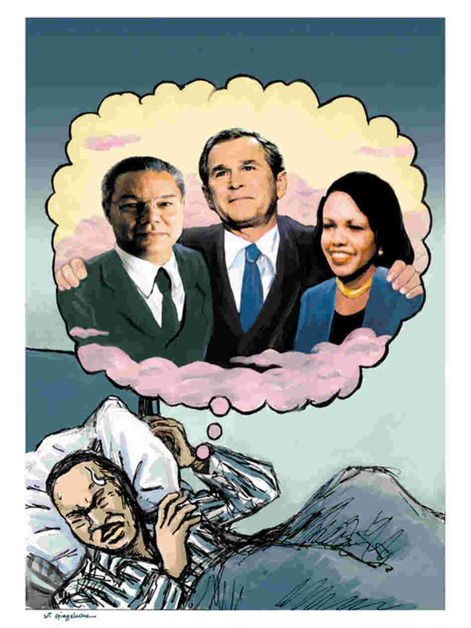 In a sketch that Spiegelman proposed during George W. Bush's first term, Martin Luther King Jr.'s dream becomes a nightmare as black leaders like Colin Powell and Condoleezza Rice provide cover for Bush.