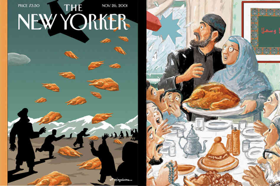 Art Spiegelman repainted Norman Rockwell's Freedom from Want in the fall of 2001, a time of sporadic attacks on American Muslim families. The sketch was accepted, but reports that the United States wa