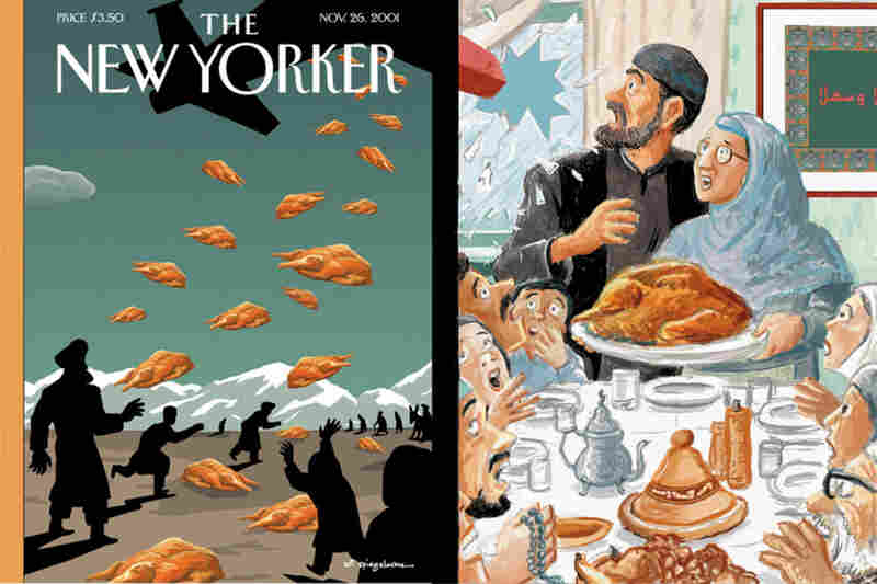 Art Spiegelman repainted Norman Rockwell's Freedom from Want in the fall of 2001, a time of sporadic attacks on American Muslim families. The sketch was accepted, but reports that the United States was, to the confusion of local children, dropping both cluster bombs and care packages in Afghanistan led Spiegelman to choose to commemorate that event instead. (Cover on left copyright 2001 ...