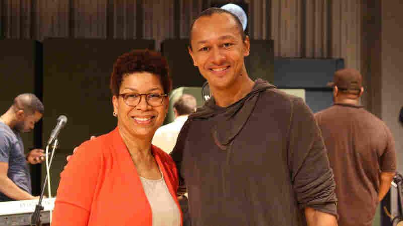 NPR's Michel Martin with harmonicist Frédéric Yonnet.