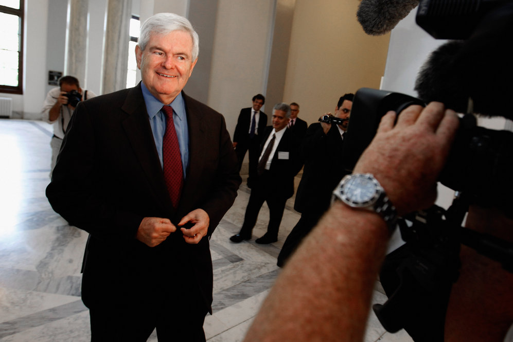 Gingrich on Capitol Hill in Washington, D.C., on May 11, 2011, the day he announced his candidacy via Twitter.