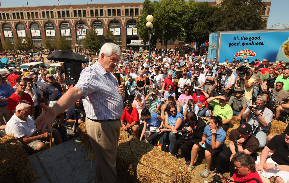 At the Iowa State Fair, Gingrich talks to voters from the Des Moines Register's soapbox on Aug. 12, 2011, in Des Moines, Iowa.
