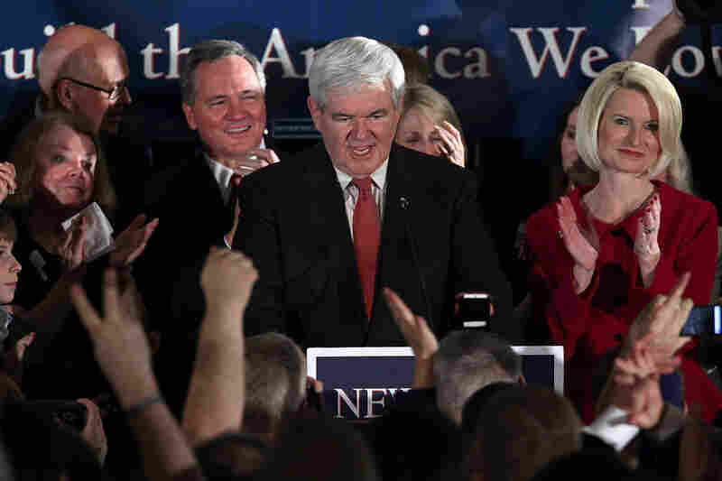 Gingrich speaks during a victory rally on Jan. 21 in Columbia, S.C., after winning the South Carolina primary.