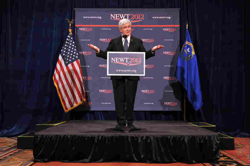 In Las Vegas on Feb. 4, Gingrich holds a press conference after finishing second to Mitt Romney in the Nevada caucuses.