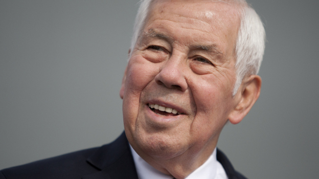 Sen. Richard Lugar, R-Ind., speaks to reporters Monday in South Bend, Ind. Lugar, a 36-year veteran of the Senate, is engulfed in a primary battle with Indiana State Treasurer Richard Mourdock, a Tea Party favorite. (AP)