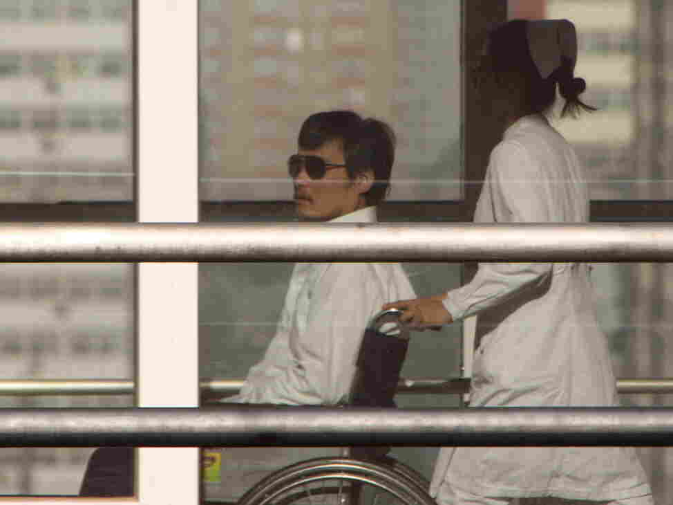 Chinese activist activist Chen Guangcheng earlier today at the a hospital in Beijing. He reportedly injured himself during his escape from house arrest last month.