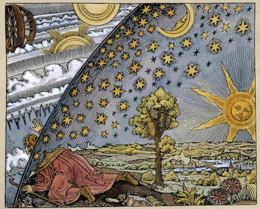 Scientist leaving the world, an engraving c.1520 representing changes in the medieval conception or interpretation of the heavens.