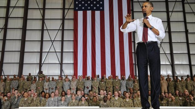 During his brief visit to Afghanistan, President Obama spoke to troops at Bagram Air Field north of Kabul. (AFP/Getty Images)