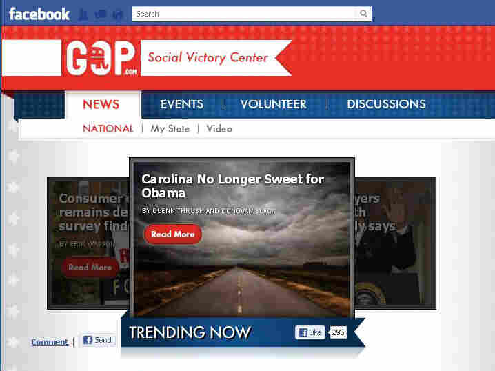 "An image from the Republican National Committee's Facebook ""Social Victory Center"" app."