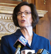 Former Dane County Executive Kathleen Falk discusses union support of her candidacy on April 26 in Madison.