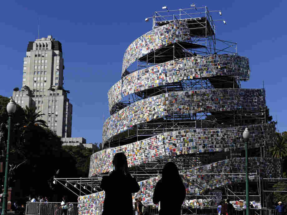 """A modern """"Tower of Babel"""" stands in Buenos Aires in 2011. Argentine artist Marta Minujin built the tower out of thousands of books in languages from all over the world."""