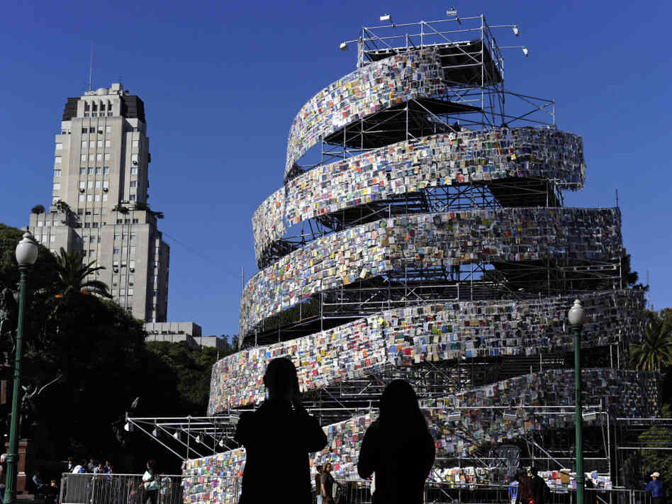 "A modern ""Tower of Babel"" stands in Buenos Aires in 2011. Argentine artist Marta Minujin built the tower out of thousands of books in languages from all over the world."