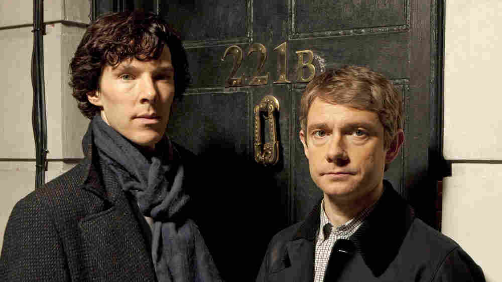 Benedict Cumberbatch (left) plays Sherlock Holmes — of London's 221B Baker St. — opposite Martin Freeman's Dr. Watson.