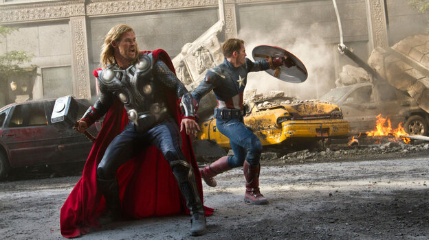 Thor (Chris Hemsworth, left) and Captain America (Chris Evans) join up with Iron Man and the Hulk to sav