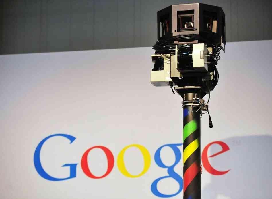 The camera mounted on a Google Street View car used to photograph whole streets o
