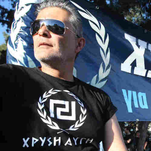 A member of the Golden Dawn far-right political organization takes part in a demonstration in Peraia, a suburb outside Thessaloniki, on April 26. Some polls indicate that in the national elections May 6, Golden Dawn may surpass the 3 percent threshold needed to enter Parliament.