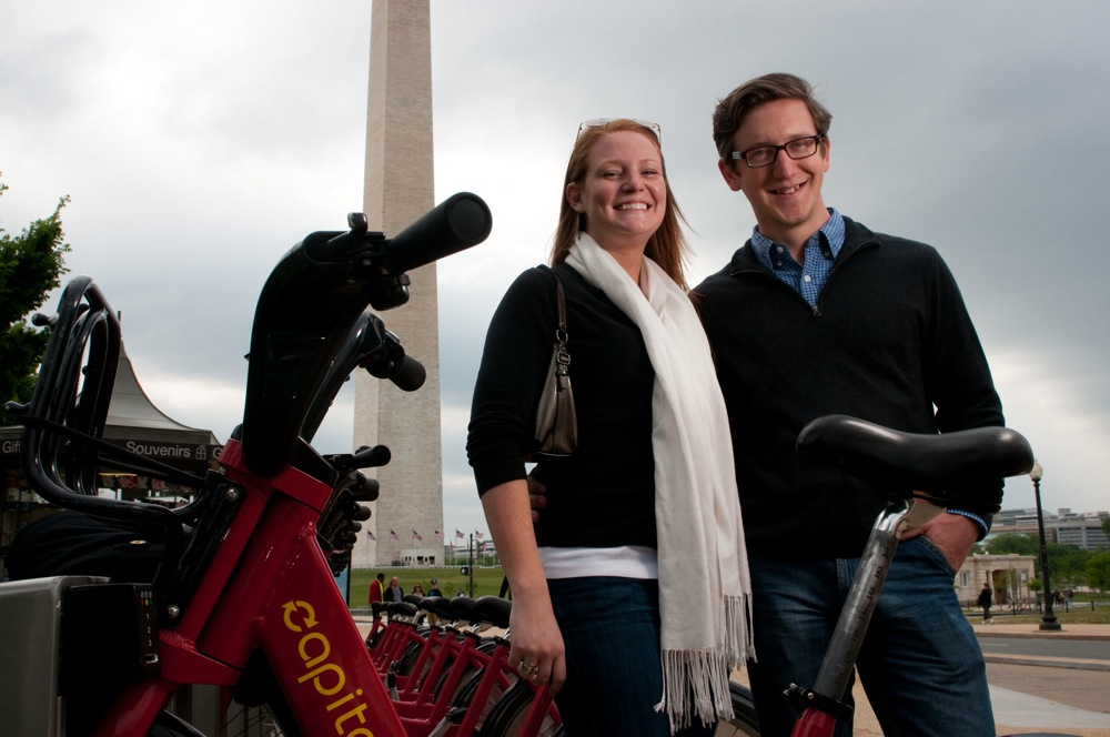 """Chicagoans Matthew Kutz and Molly Witges didn't bring helmets to D.C. but felt safe anyway on the slow, heavy Bikeshare bikes. """"You're never going to get into a high-speed collision,"""" Kutz says."""