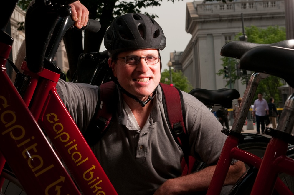 "Tom Suppan, a ""bicyclist by nature,"" rarely rides without a helmet. ""I've fallen too often not to wear one,"" he says. ""If I hadn't had the helmet on, I'd have been in bad shape."""