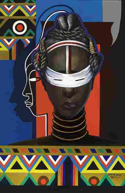 Lois Mailou Jones, Initiation, Liberia, 1983, acrylic