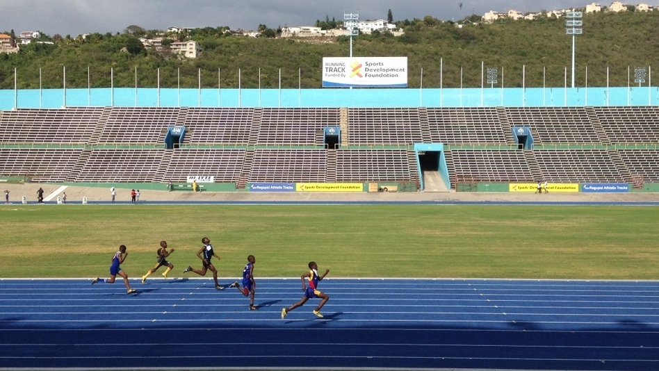 Jamaican teens and preteens compete in the island's track championships at the National Stadium in the capital, Kingston. (NPR)