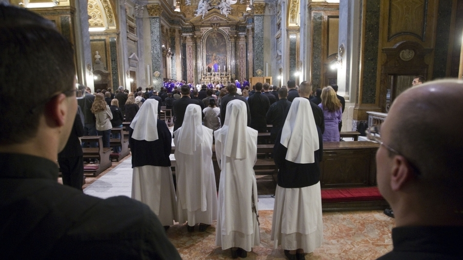 American nuns attend Mass at Sant'Apollinare in Rome. The umbrella group that represents the majority of the approximately 56,000 U.S. nuns plans to meet later this month to discuss its response to a Vatican reprimand. (AP)