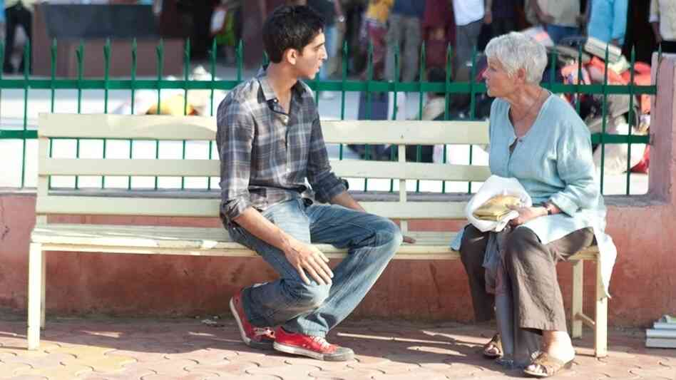 Dev Patel as Sonny and Judi Dench as Evelyn on the set of The Best Exotic Marigold Hotel.