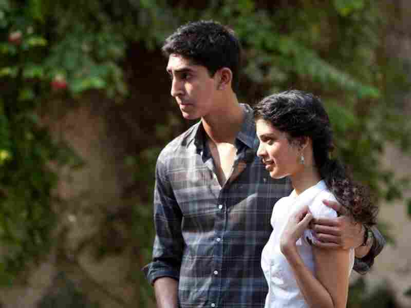 Dev Patel as Sonny and Tena Desae as Sunaina on the set of The Best Exotic Marigold Hotel.