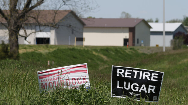 Yard signs in Columbus, Ind., support Republican Senate candidate Richard Mourdock in Tuesday's primary against fellow Republican Sen. Richard Lugar.