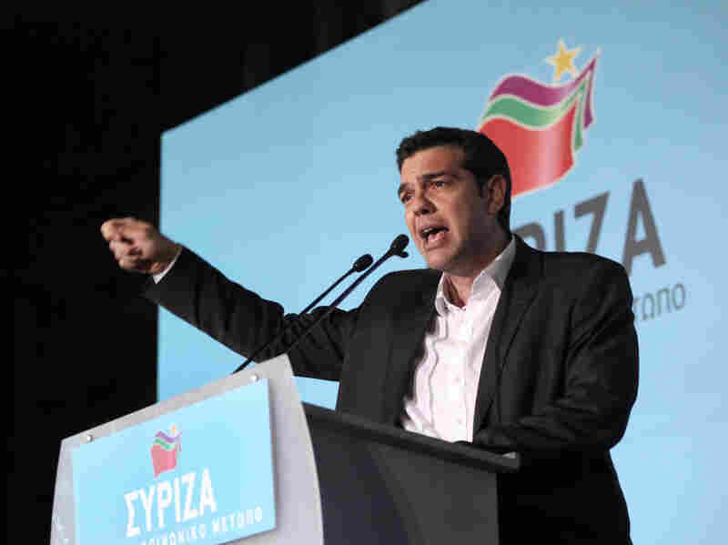 Leader of the Coalition of the Radical Left party (SYRIZA) Alexis Tsipras delivers a speech to supporters in Athens, May 3, 2012. Polls indicate no party will win enough of a majority to form a government without seeking the backing of another party to form a coalition.