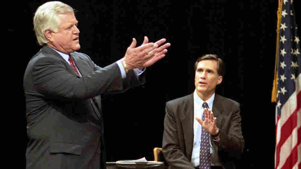 Sen. Ted Kennedy, D-Mass., and Republican challenger Mitt Romney (right) take part in a televised debate at Holyoke Community College in Holyoke, Mass., in 1994. Romney lost to Kennedy in his first political race.