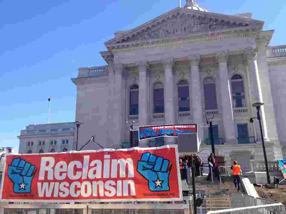 At the capitol in Madison, Wis., on March 10, Wisconsin unions gather for a rally to mark the one-year anniversary of the state legislature passing a bill to end collective bargaining rights for most public workers in the state.