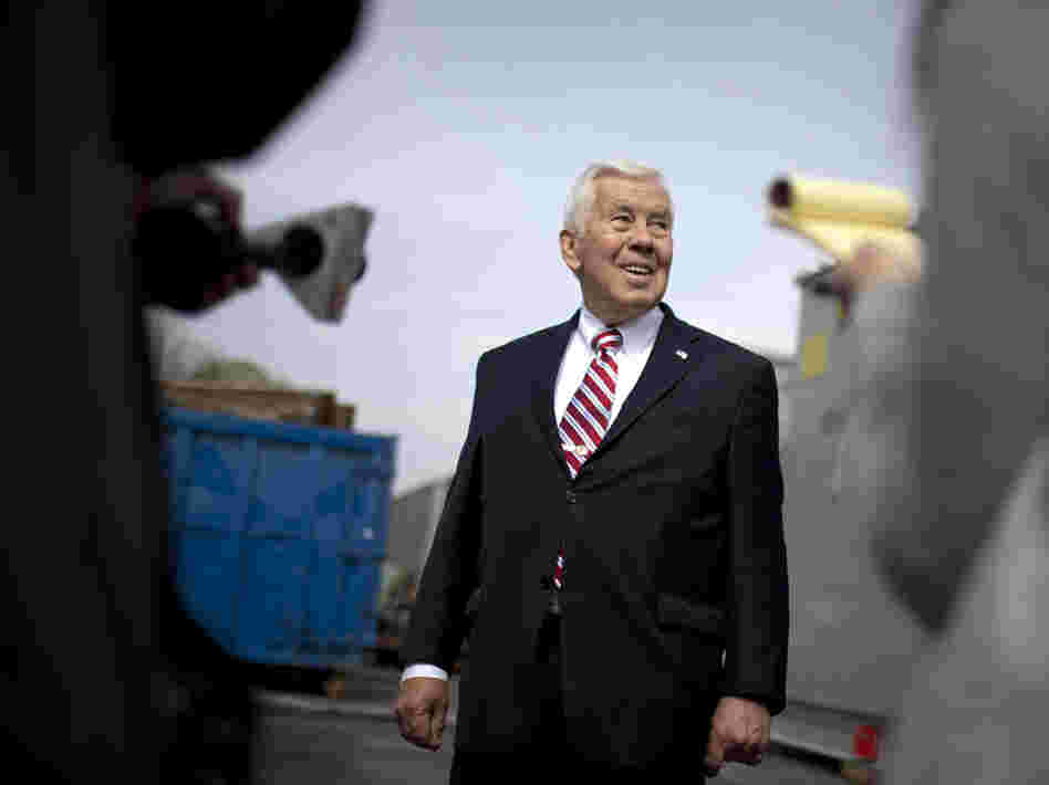 U.S. Sen. Richard Lugar, R-Ind., speaks to reporters on Monday in South Bend, Ind.