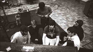 Brian Wilson and the rest of the Beach Boys working during one of the Smile Sessions.