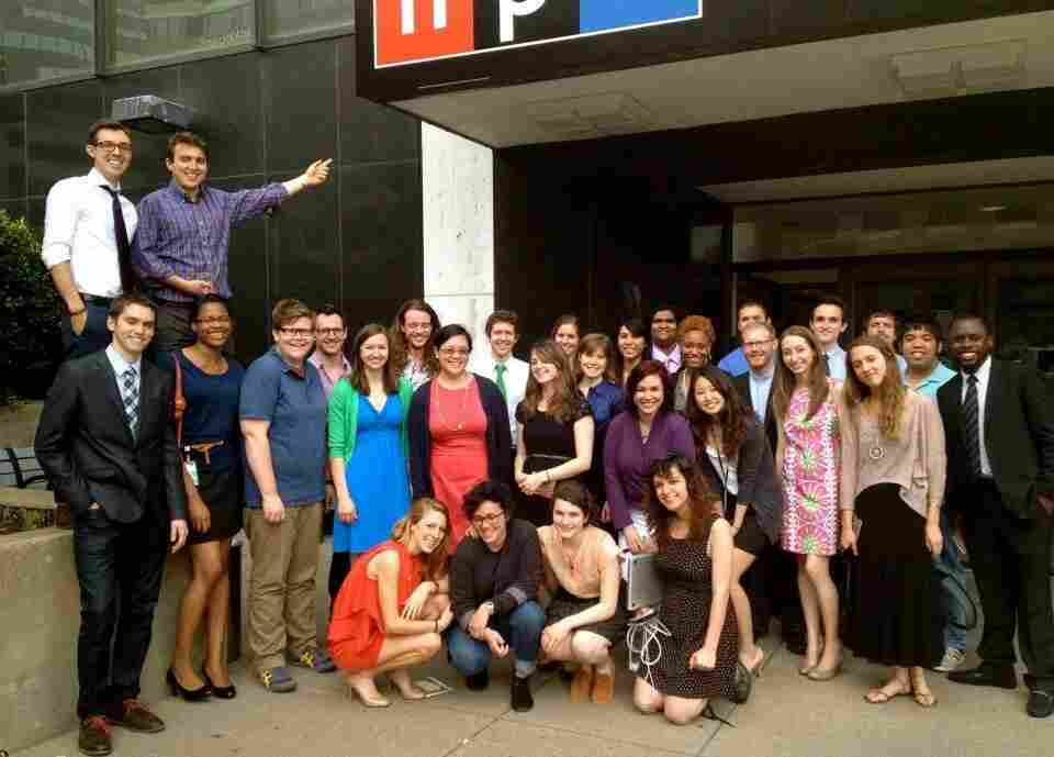 Spring interns celebrated a successful premiere outside NPR headquarters in Washington, D.C.