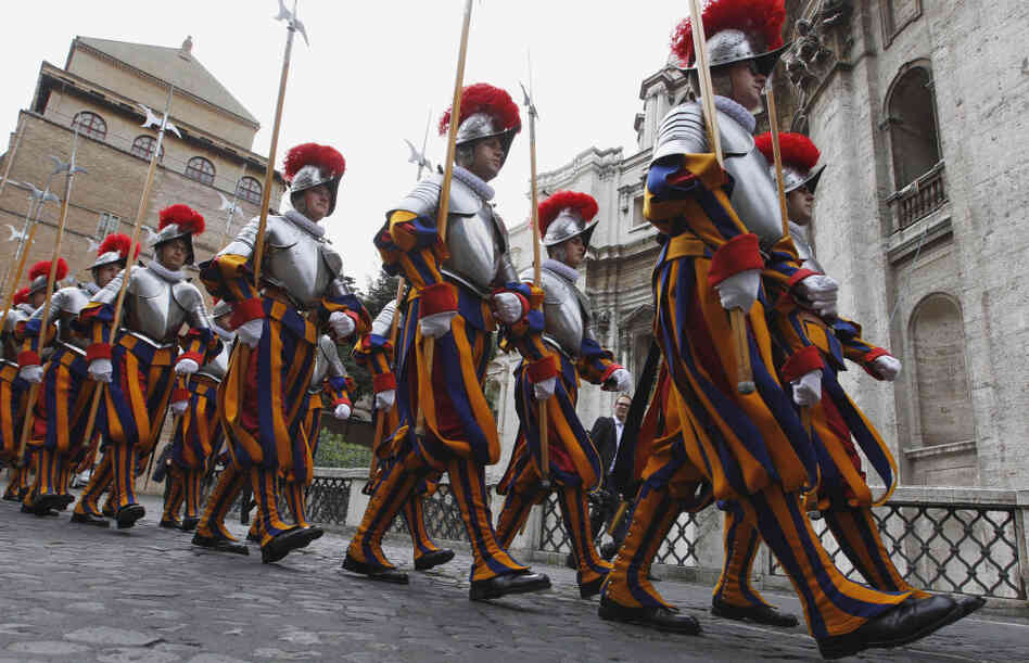 Swiss guards march prior to a swearing-in ceremony at the Vatican on Sunday. This year, 26 Swiss men are joining the oldest standing army in the world, swearing to give up their lives to protect the pope. The ceremony is held every May 6 to commemorate the day in 1527 when 147 Swiss Guards died protecting Pope Clement VII during the sack of Rome.