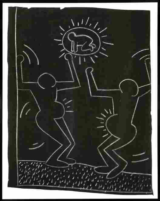 Untitled, circa 1980-1985, chalk on black paper