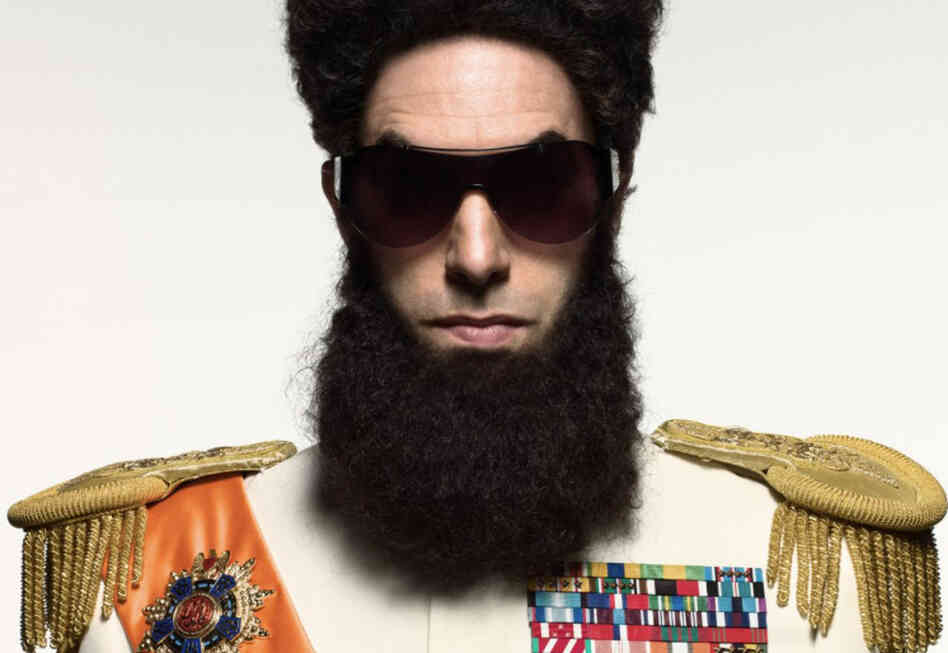 Sacha Baron Cohen as Admiral General Aladeen in The Dictator.